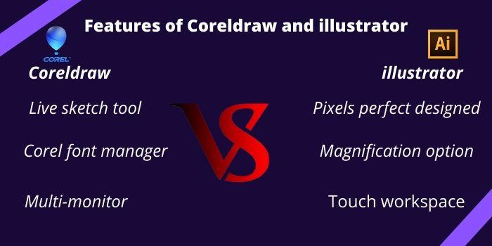 Features of Coreldraw and illustrator