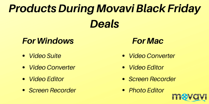 Products during Movavi Black Friday Deals