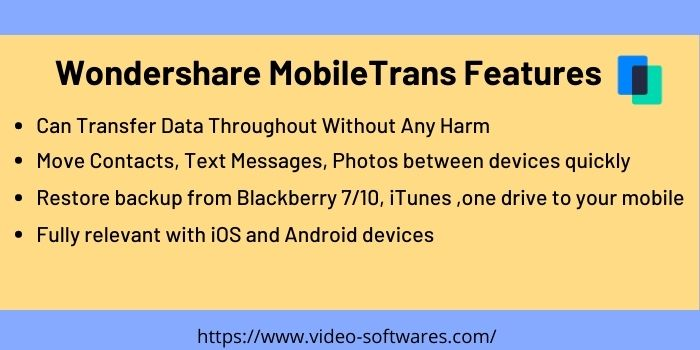 Wondershare Mobile Trans Features