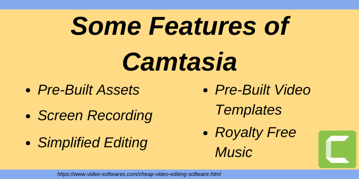 Features of Camtasia cheap video editing software
