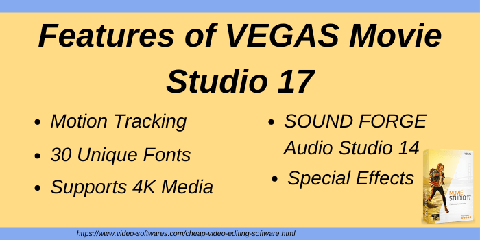 Features of VEGAS Movie Studio 17 cheap video editing software