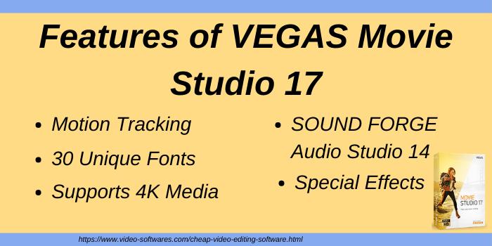 Features of VEGAS Movie Studio 17