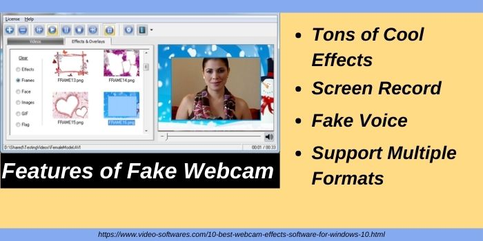 Features of Fake Webcam effects software for windows 10