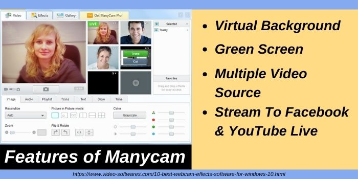 Features of Manycam webcam effects software for windows 10