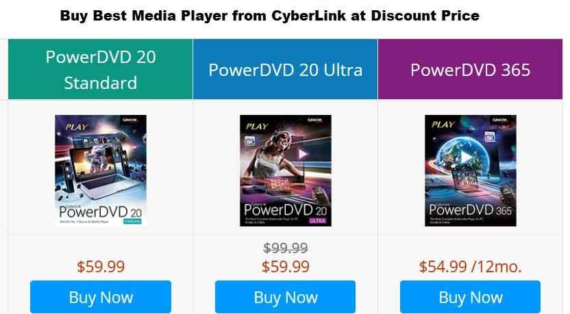 Comparison PowerDVD plans of CyberLink