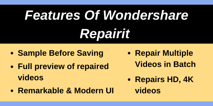 Features of Wondershare Repairit