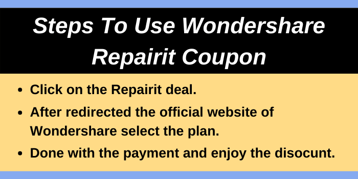Steps for Wondershare Repairit with discount